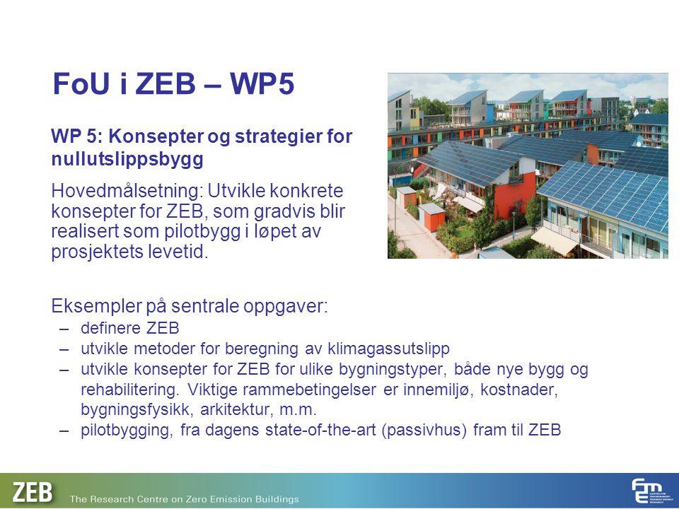 FoU i ZEB – WP5 Eksempler på sentrale oppgaver: