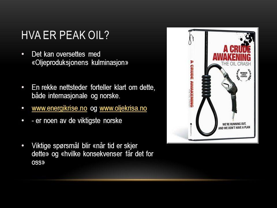 Hva er peak oil Det kan oversettes med «Oljeproduksjonens kulminasjon»