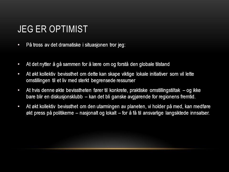 Jeg er optimist På tross av det dramatiske i situasjonen tror jeg: