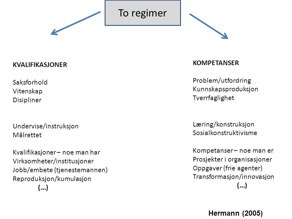 To regimer KOMPETANSER KVALIFIKASJONER Problem/utfordring