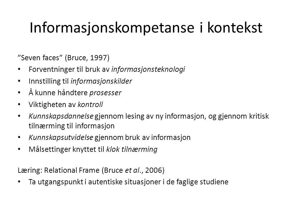 Informasjonskompetanse i kontekst