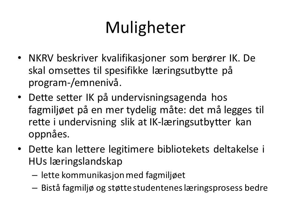 Muligheter NKRV beskriver kvalifikasjoner som berører IK. De skal omsettes til spesifikke læringsutbytte på program-/emnenivå.