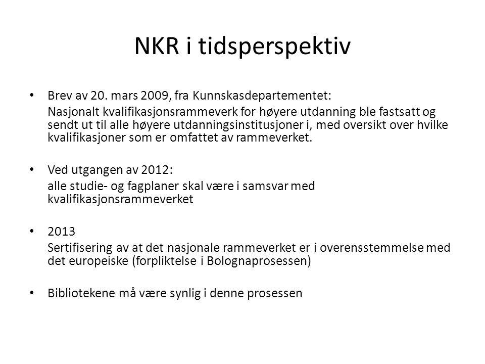 NKR i tidsperspektiv Brev av 20. mars 2009, fra Kunnskasdepartementet: