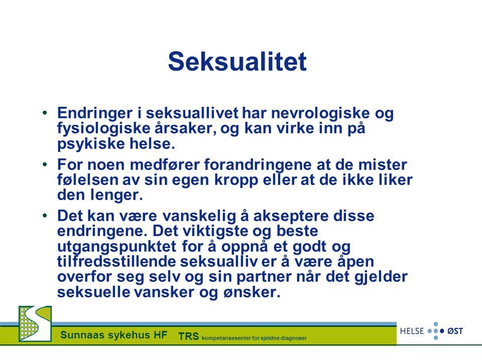 Seksualitet Endringer i seksuallivet har nevrologiske og fysiologiske årsaker, og kan virke inn på psykiske helse.