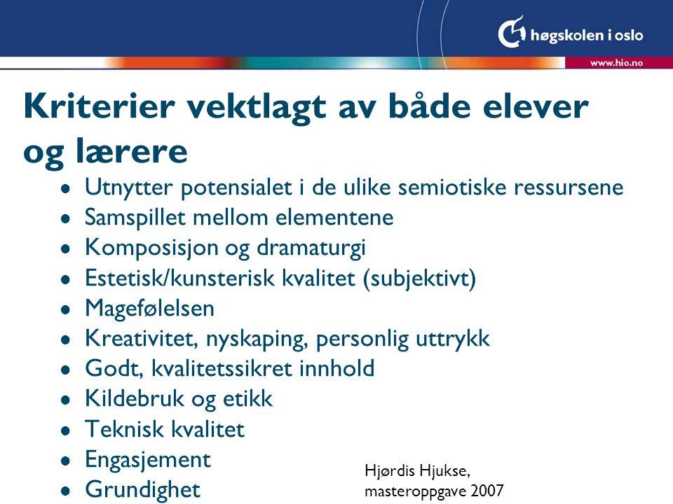 Kriterier vektlagt av både elever og lærere