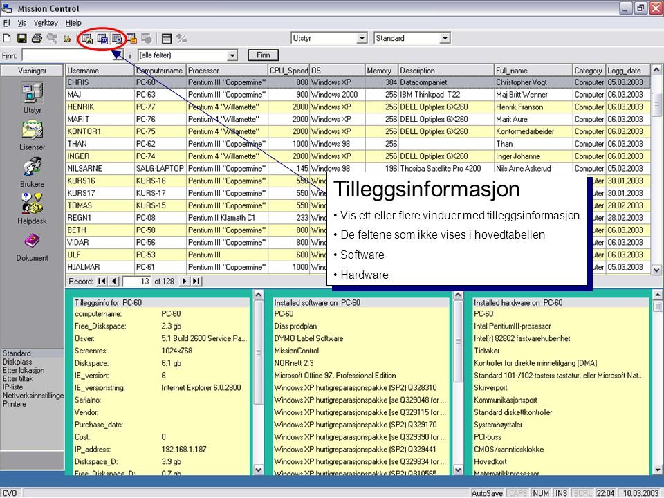 Tilleggsinformasjon Vis ett eller flere vinduer med tilleggsinformasjon. De feltene som ikke vises i hovedtabellen.