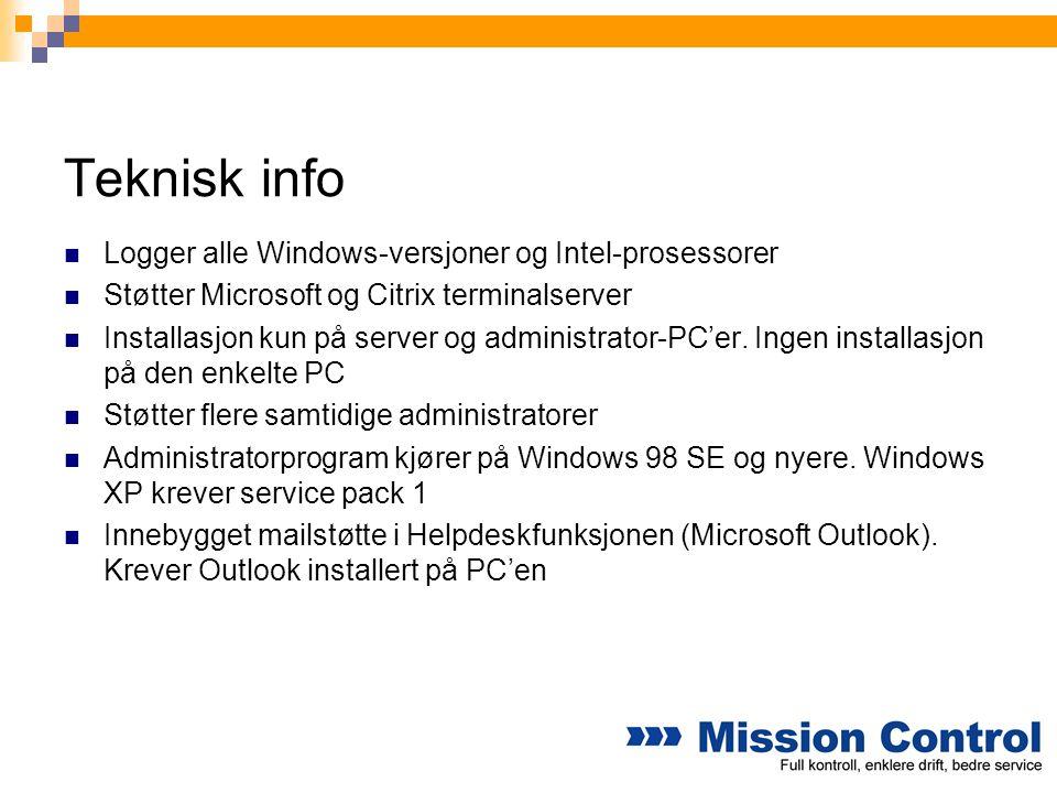 Teknisk info Logger alle Windows-versjoner og Intel-prosessorer