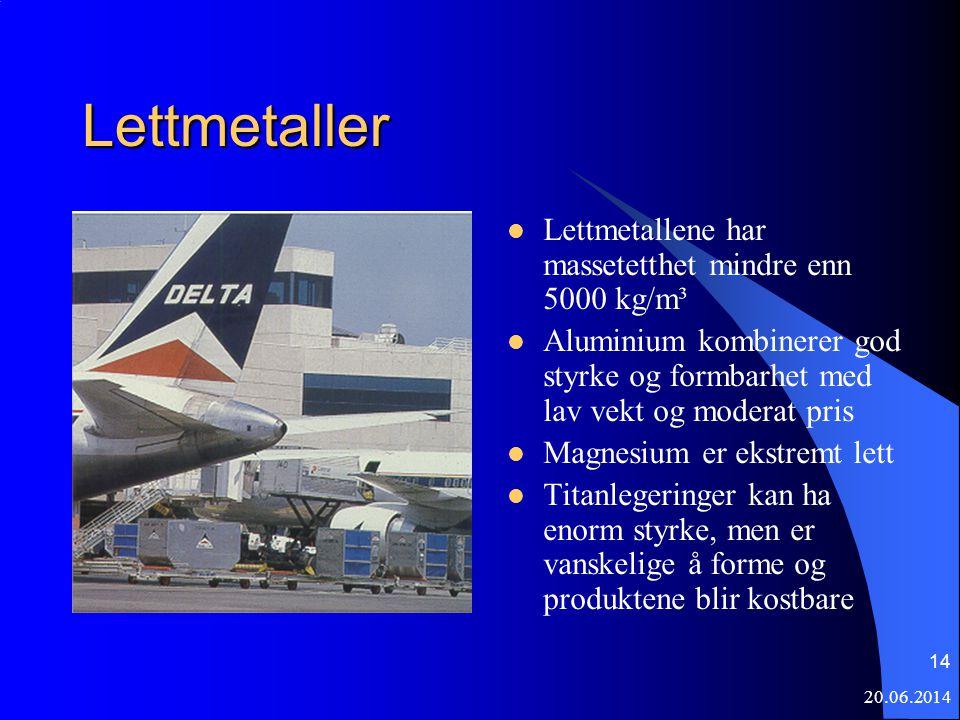 Lettmetaller Lettmetallene har massetetthet mindre enn 5000 kg/m³