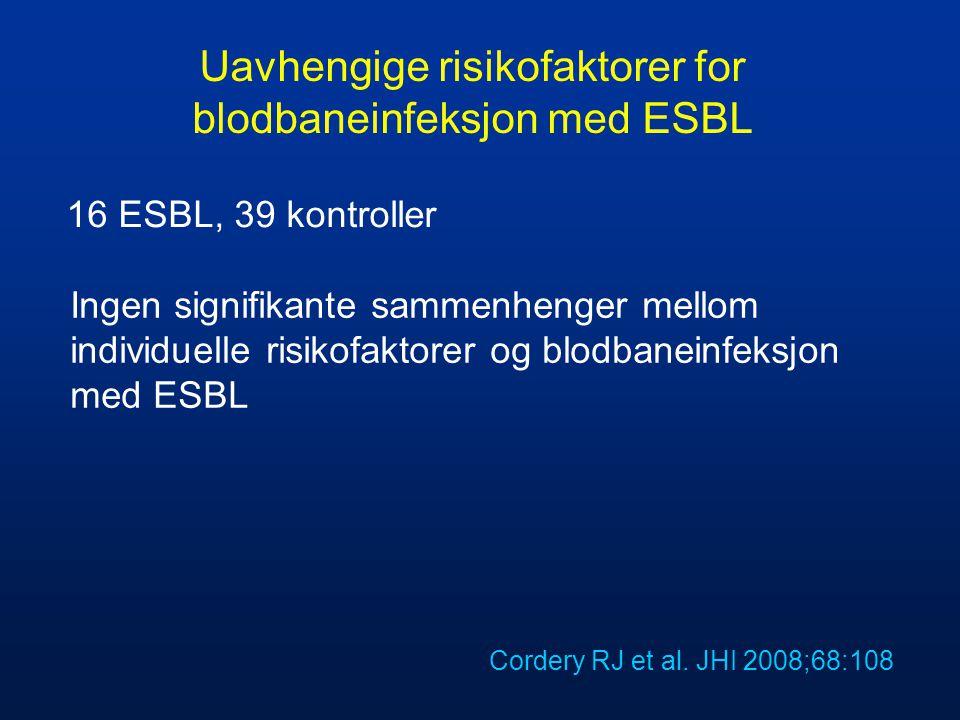 Uavhengige risikofaktorer for blodbaneinfeksjon med ESBL