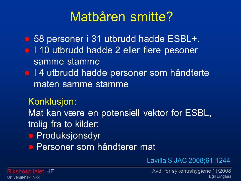 Matbåren smitte 58 personer i 31 utbrudd hadde ESBL+.