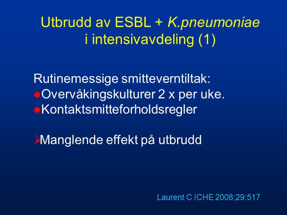 Utbrudd av ESBL + K.pneumoniae i intensivavdeling (1)