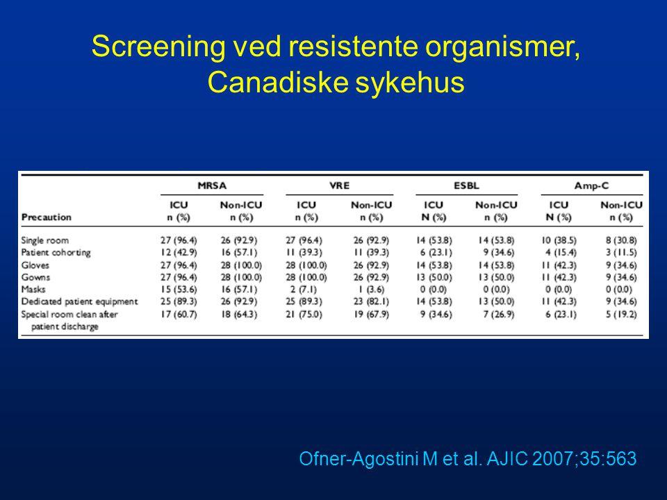 Screening ved resistente organismer, Canadiske sykehus