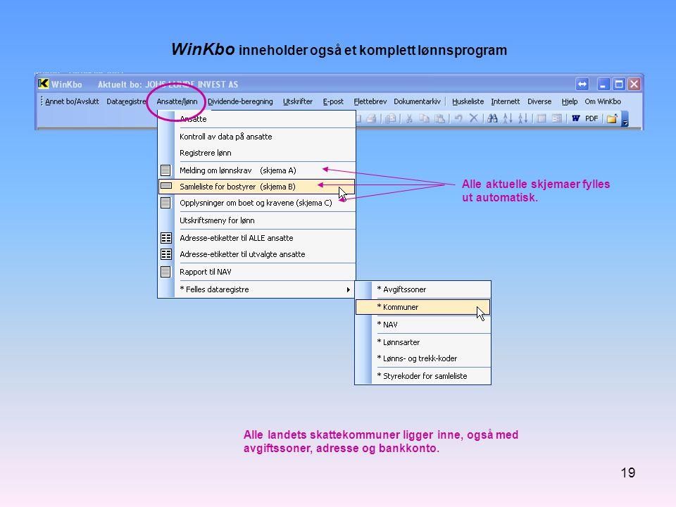 WinKbo inneholder også et komplett lønnsprogram