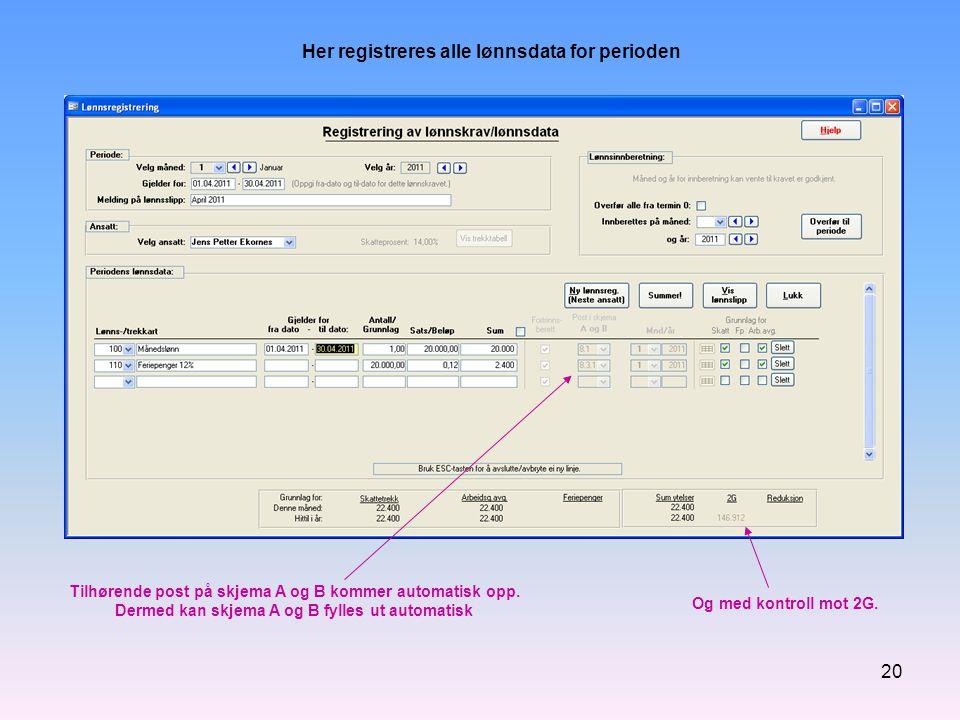 Her registreres alle lønnsdata for perioden