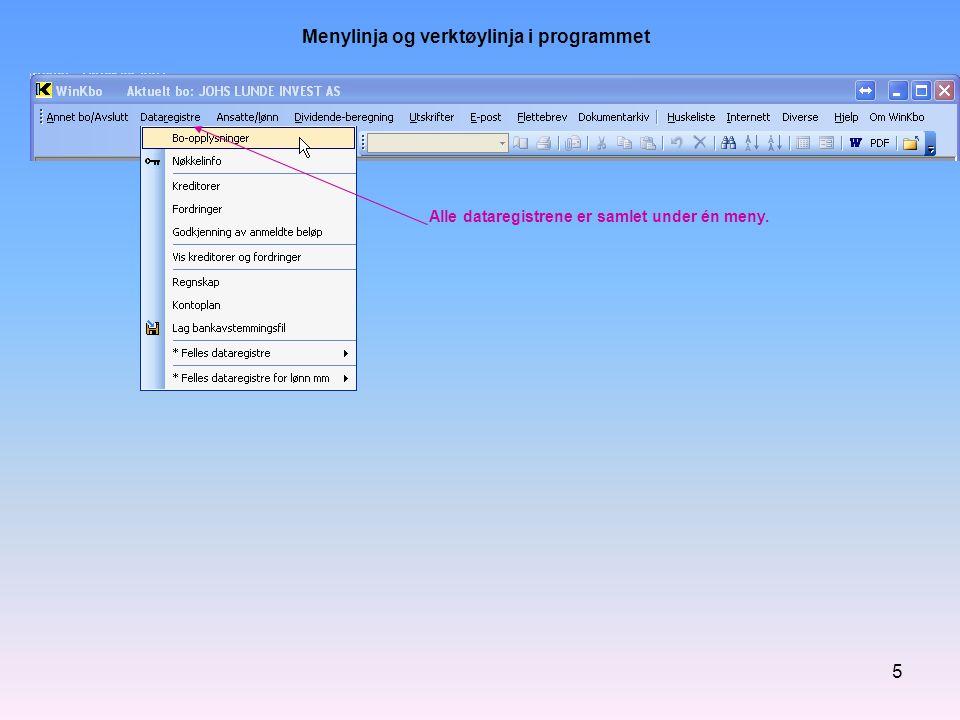 Menylinja og verktøylinja i programmet