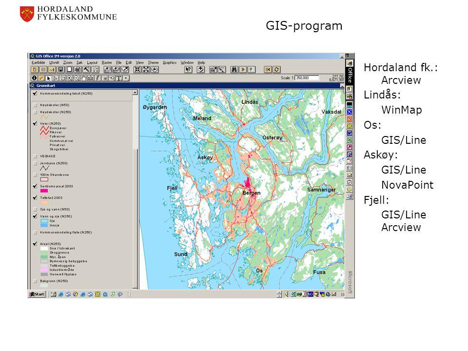 GIS-program Hordaland fk.: Arcview Lindås: WinMap Os: GIS/Line Askøy: