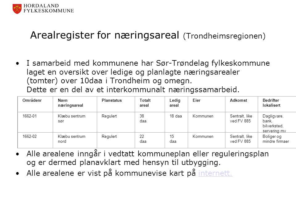 Arealregister for næringsareal (Trondheimsregionen)