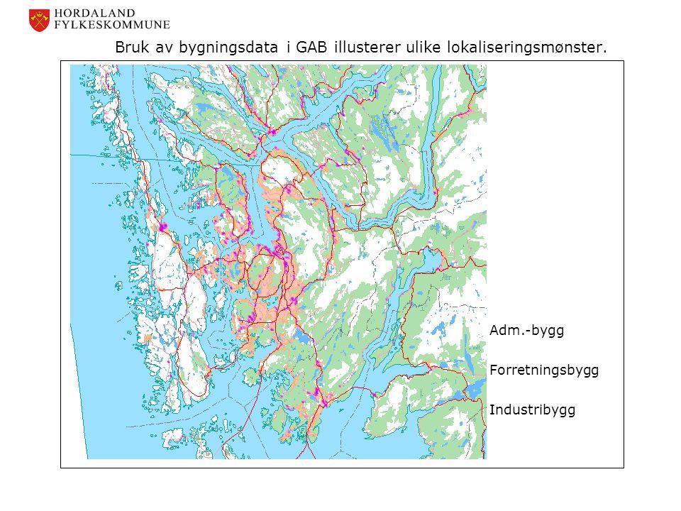 Bruk av bygningsdata i GAB illusterer ulike lokaliseringsmønster.