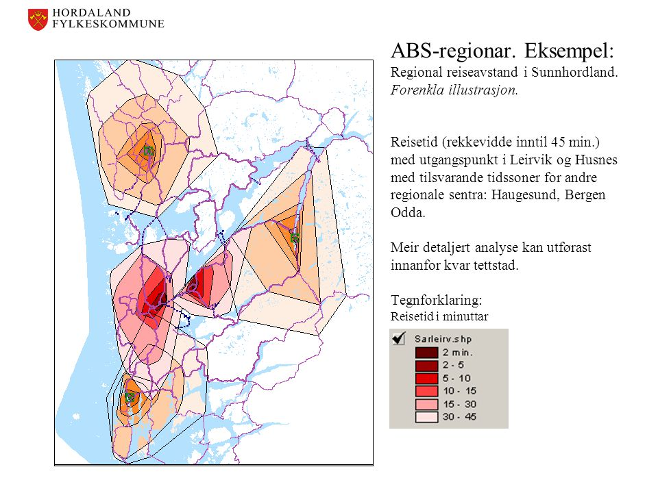 ABS-regionar. Eksempel: Regional reiseavstand i Sunnhordland