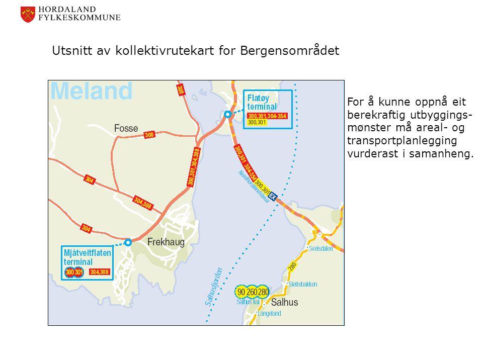 Utsnitt av kollektivrutekart for Bergensområdet
