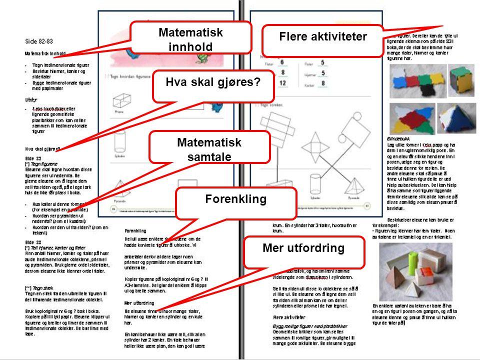 Matematisk innhold Flere aktiviteter Hva skal gjøres Matematisk samtale Forenkling Mer utfordring