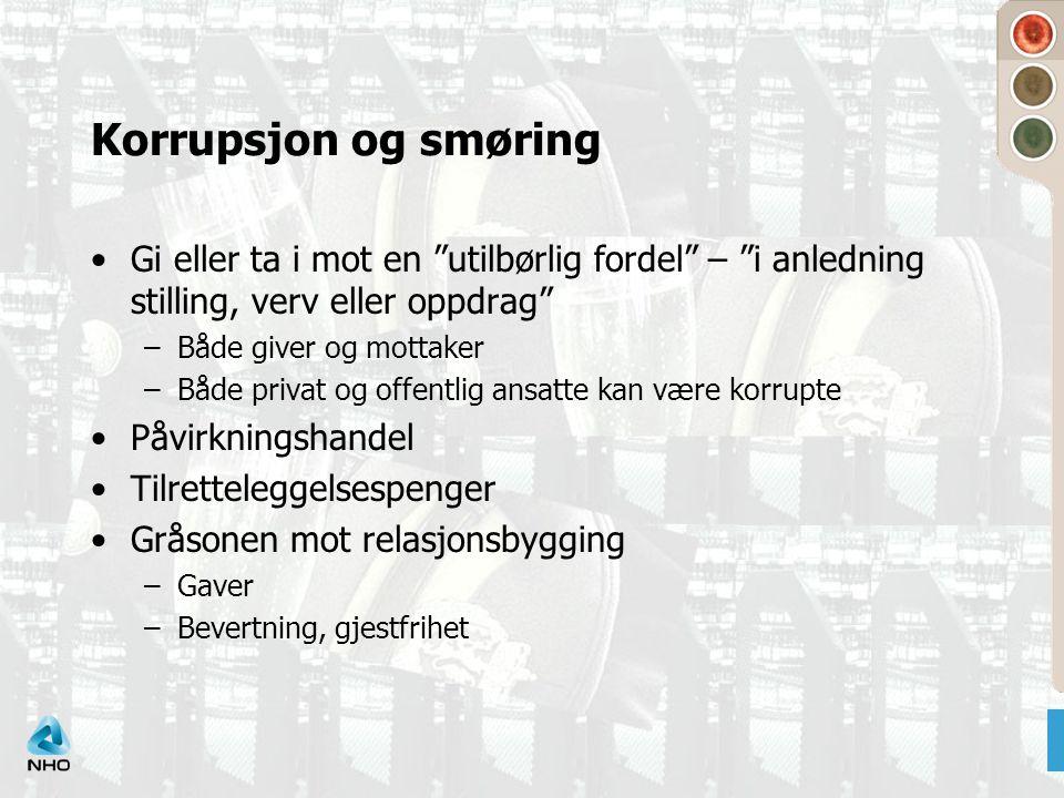 Korrupsjon og smøring Gi eller ta i mot en utilbørlig fordel – i anledning stilling, verv eller oppdrag