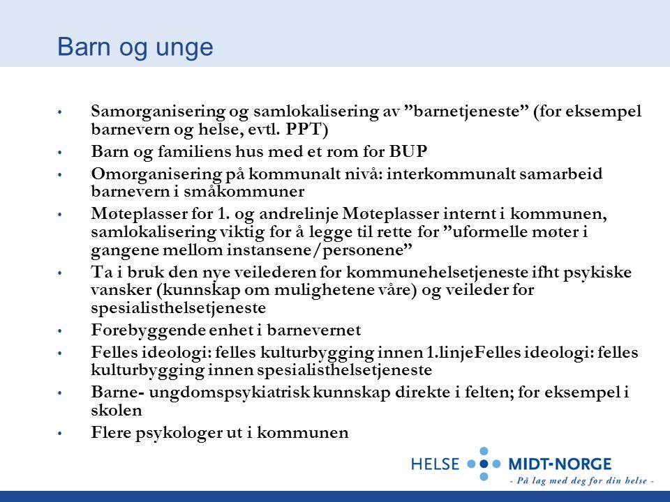 Barn og unge Samorganisering og samlokalisering av barnetjeneste (for eksempel barnevern og helse, evtl. PPT)