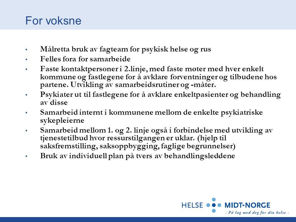 For voksne Målretta bruk av fagteam for psykisk helse og rus