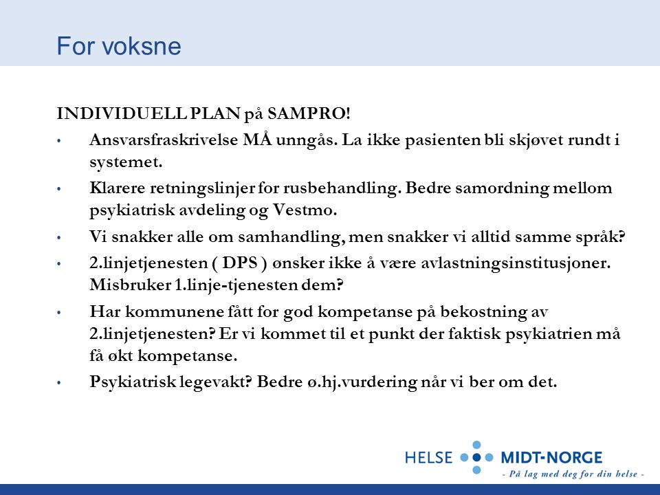 For voksne INDIVIDUELL PLAN på SAMPRO!