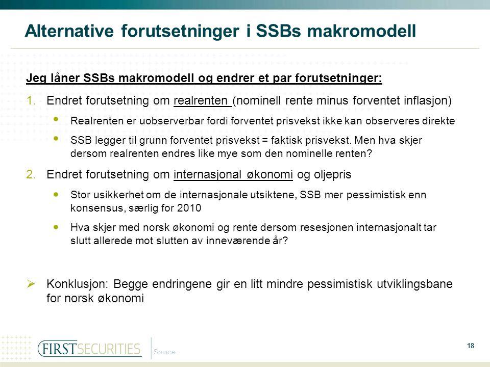 Alternative forutsetninger i SSBs makromodell