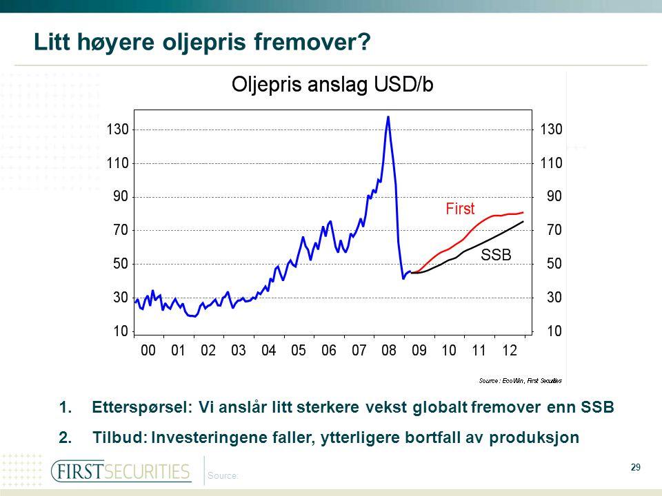 Litt høyere oljepris fremover