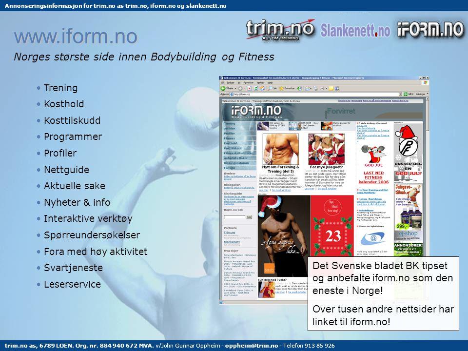 www.iform.no Norges største side innen Bodybuilding og Fitness