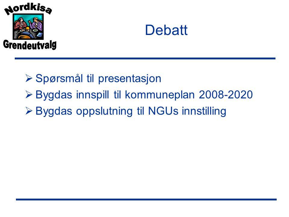 Debatt Spørsmål til presentasjon
