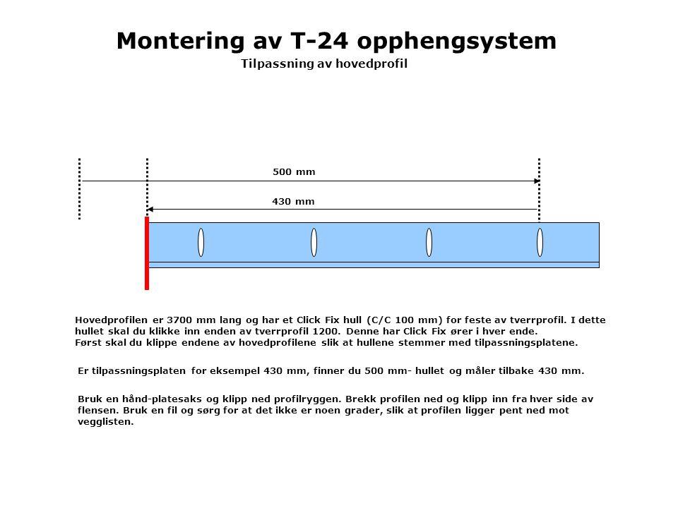 Montering av T-24 opphengsystem Tilpassning av hovedprofil