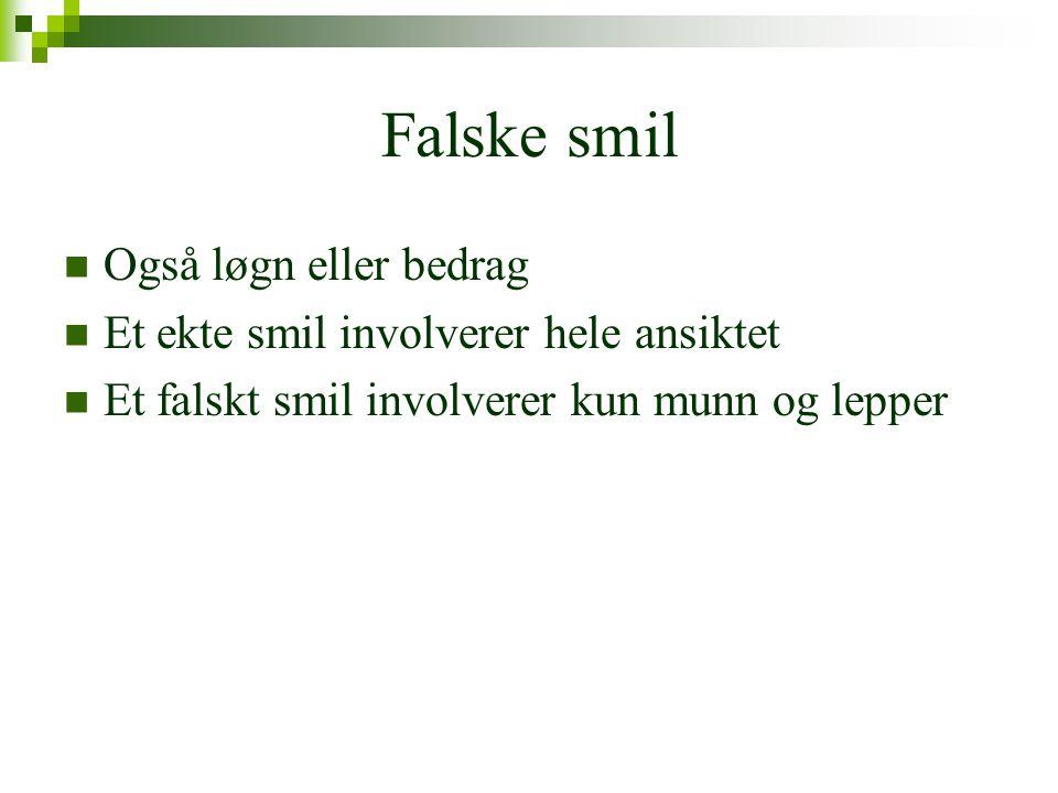 Falske smil Også løgn eller bedrag
