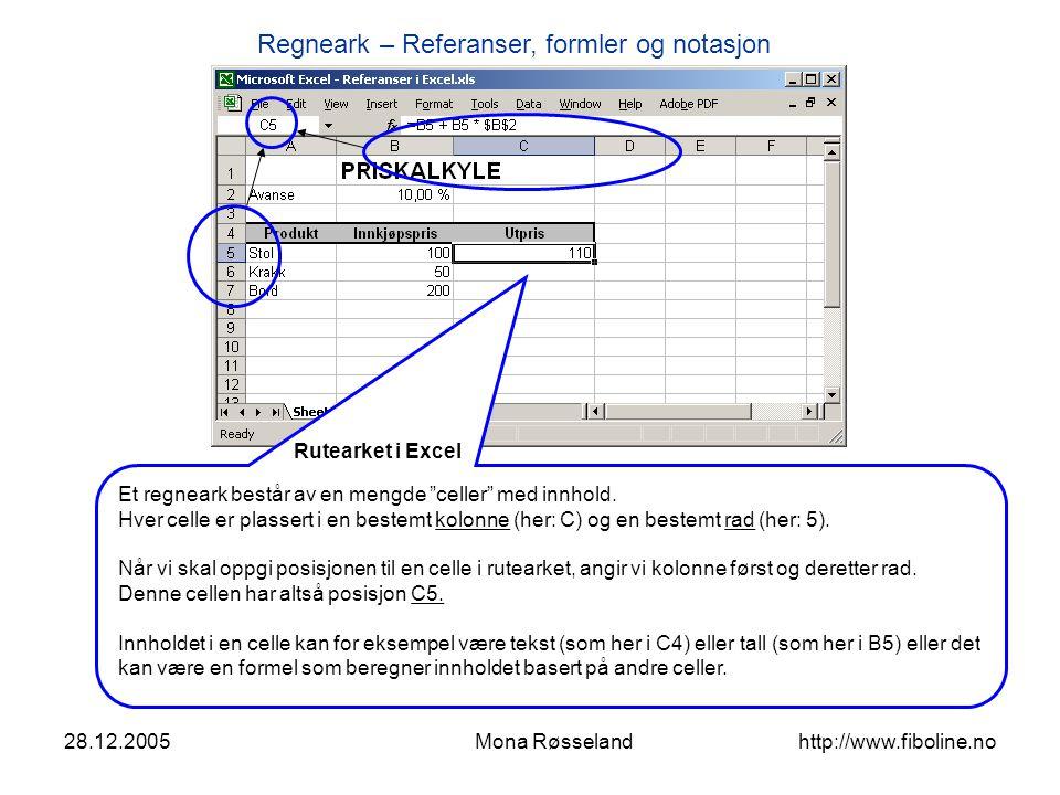 Rutearket i Excel Et regneark består av en mengde celler med innhold.