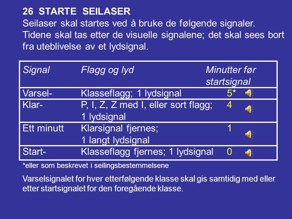 Signal Flagg og lyd Minutter før startsignal