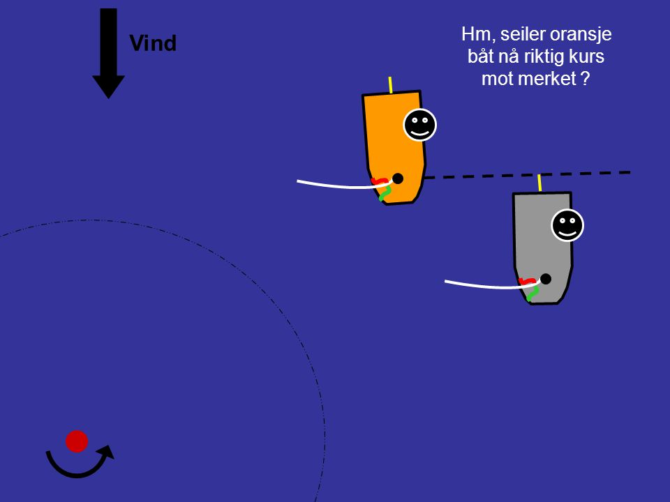 Hm, seiler oransje båt nå riktig kurs mot merket Vind