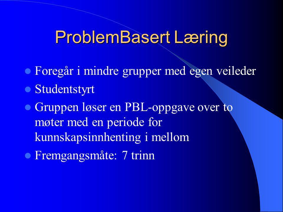 ProblemBasert Læring Foregår i mindre grupper med egen veileder