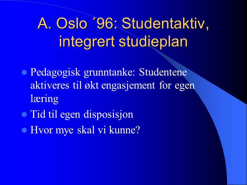 A. Oslo ´96: Studentaktiv, integrert studieplan