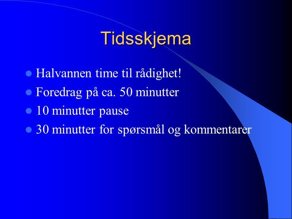 Tidsskjema Halvannen time til rådighet! Foredrag på ca. 50 minutter