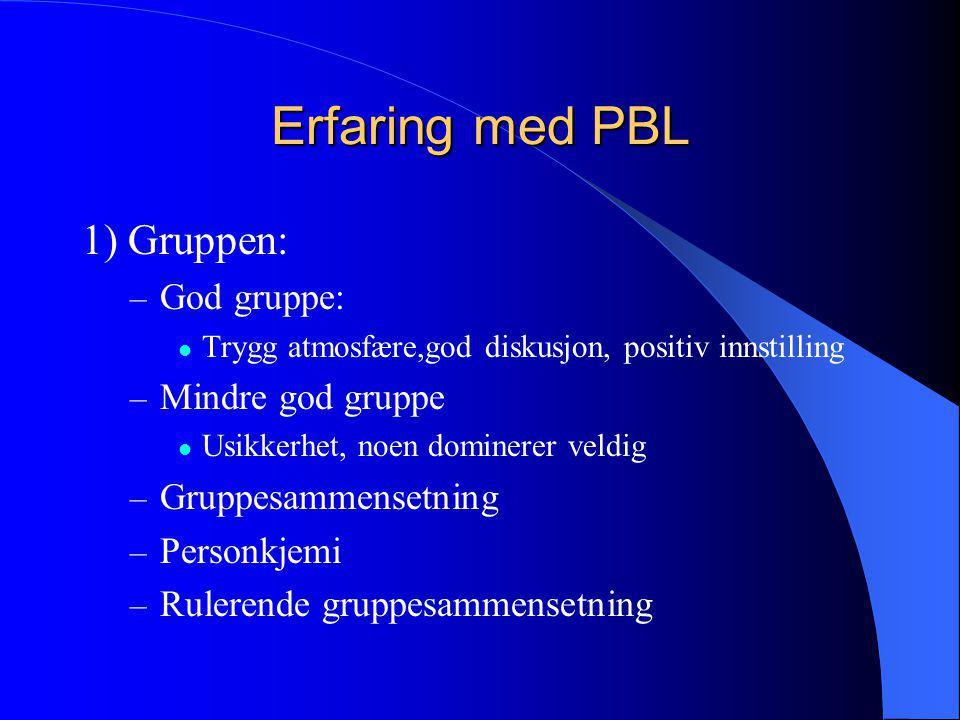 Erfaring med PBL 1) Gruppen: God gruppe: Mindre god gruppe