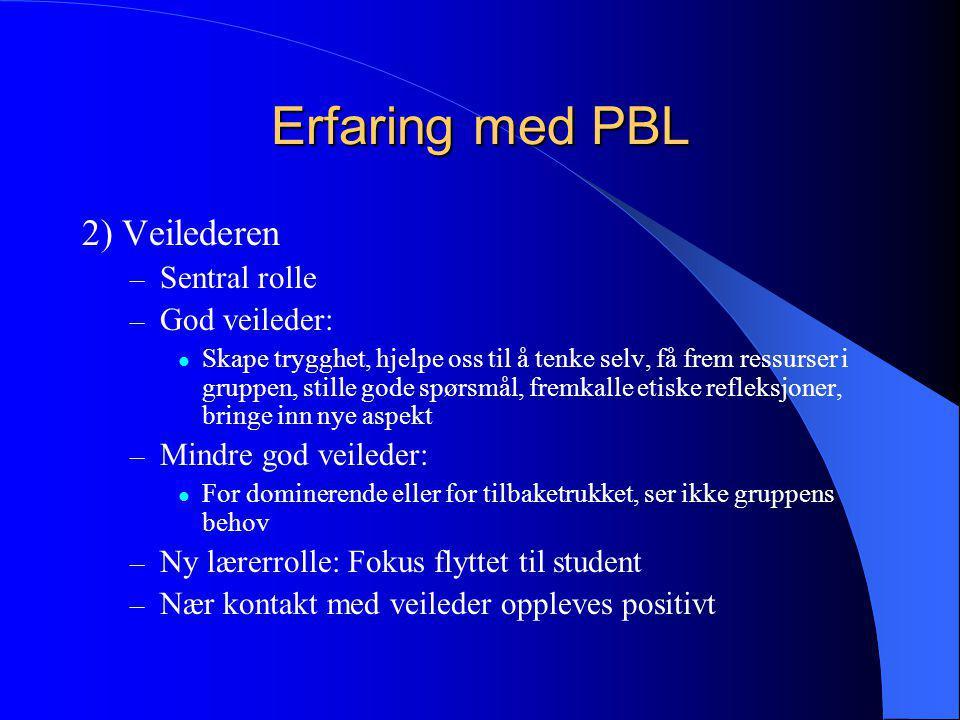 Erfaring med PBL 2) Veilederen Sentral rolle God veileder: