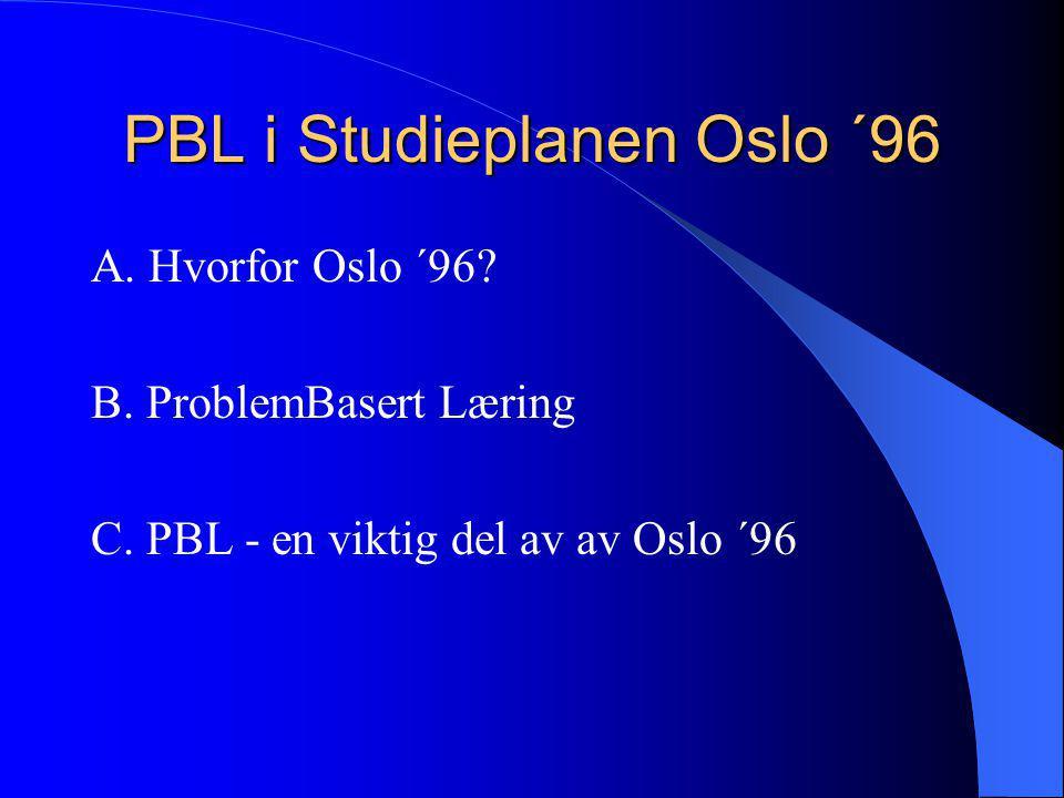 PBL i Studieplanen Oslo ´96