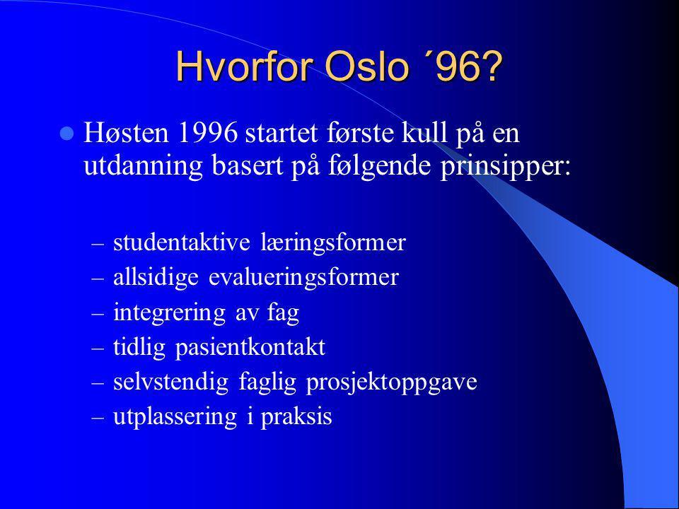 Hvorfor Oslo ´96 Høsten 1996 startet første kull på en utdanning basert på følgende prinsipper: studentaktive læringsformer.