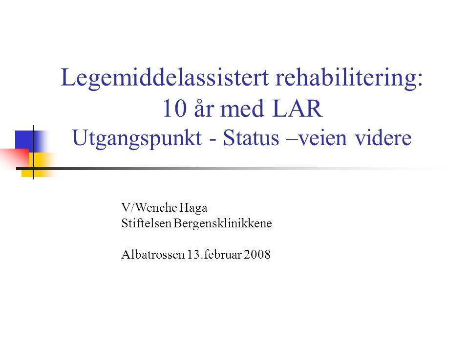 Legemiddelassistert rehabilitering: 10 år med LAR Utgangspunkt - Status –veien videre