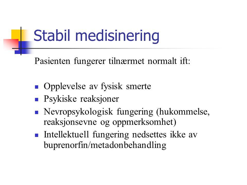 Stabil medisinering Pasienten fungerer tilnærmet normalt ift: