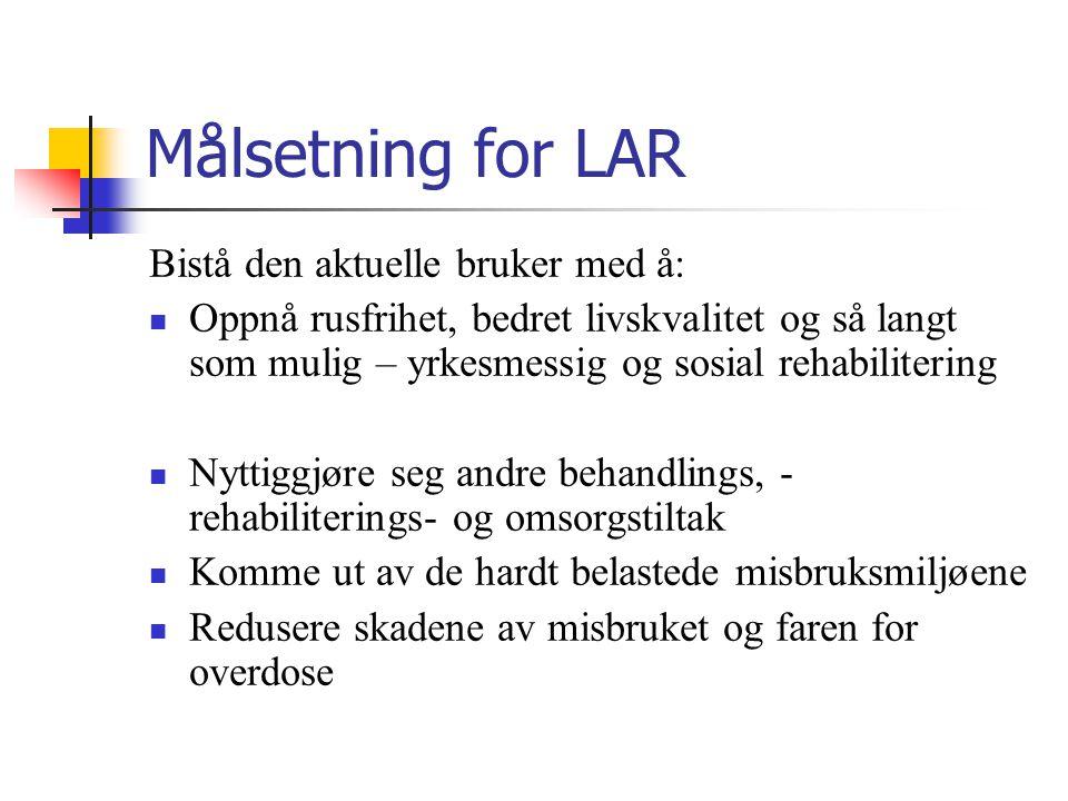 Målsetning for LAR Bistå den aktuelle bruker med å: