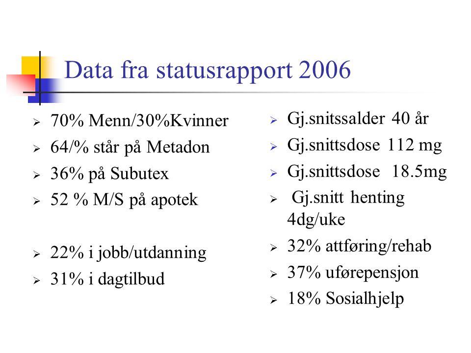Data fra statusrapport 2006