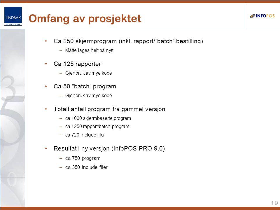 Omfang av prosjektet Ca 250 skjermprogram (inkl. rapport/ batch bestilling) Måtte lages helt på nytt.